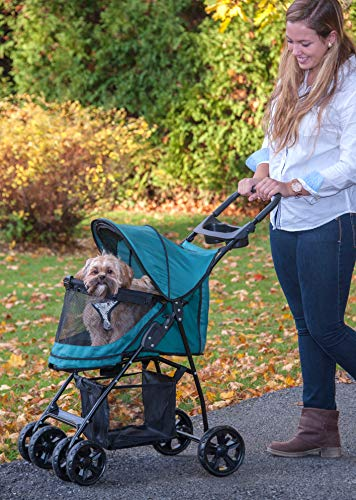 Pet Gear No-Zip Happy Trails Lite Pet Stroller for Cats/Dogs, Zipperless Entry, Easy Fold with Removable Liner, Storage Basket + Cup Holder, Pine Green (PG8030NZPGA) 2