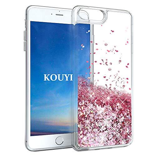 KOUYI Funda iPhone 8/7 Plus, Brillo Liquida Claro 3D Bling Cubierta Flowing...