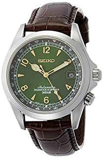 Seiko Men's Stainless Steel Japanese-Automatic Watch with Leather Calfskin Strap, Brown, 20