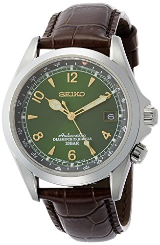 Seiko Men's Stainless Steel Japanese-Automatic Watch with Leather Calfskin Strap, Brown, 20 (Model: SARB017)