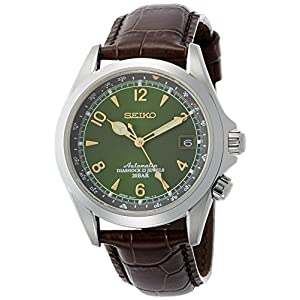 Fashion Shopping Seiko Men's Stainless Steel Japanese-Automatic Watch with Leather Calfskin