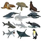 Kitabetty Animal simulado, 12PCS Modelo de Animales Marinos simulados, Juguete de plástico ecológico para Entretenimiento, Regalos, Muebles y educación, 25.782.751.37in.