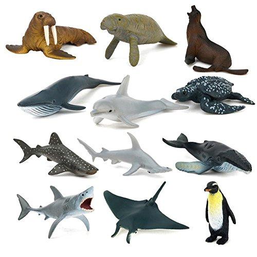 Kitabetty Animal simulado, 12PCS Modelo de Animales Marinos simulados, Juguete de plástico ecológico para Entretenimiento, Regalos, Muebles y educación, 25.782.751.37in