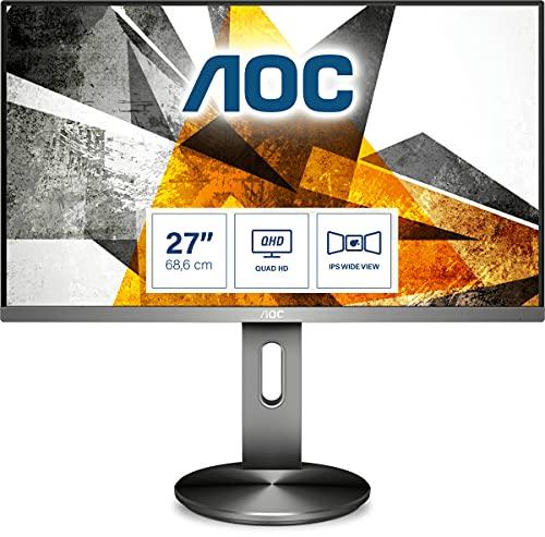 AOC Q2790PQE - 27 Zoll QHD Monitor, höhenverstellbar (2560x1440, 60 Hz, VGA, HDMI, DisplayPort, USB Hub) schwarz