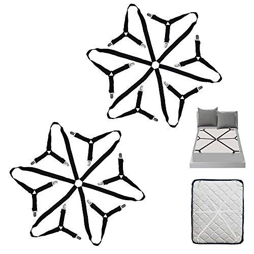 HOSTK 2PC 6 Lados Triángulo Sujetadores de la sábana Tirantes Sujetadores Correas Pinzas Clip - Ajustar sábanas de Todo tamaño Fundas de colchón Sofá Cojín Mesa Ajustable
