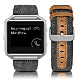 Jobese Compatible with Fitbit Blaze Bands, Soft Classic Canvas Fabric Straps with Genuine Leather Bands with Silver Metal Frame Compatible with Fitbit Blaze Bands Men Women