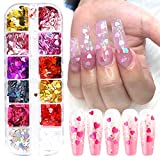 3D Heart Nail Art Stickers Glitter Decals Love Nail Sequins Laser Heart Nail Supplies Sparkle Nail Flakes Mixed Size Colorful Shiny Design for Acrylic Nail Supplies Charms Nail Decorations Accessories