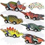 GOLDGE 6pz Coche de Juguete de Dinosaurios para Niños, 3 4 5+ Años Coches de Dinosaurios y 6pz Pegatina Tatuaje de Patrón de Dinosaurio Juguetes Vehículos Dinosaurios Juguetes Animales Juguetes