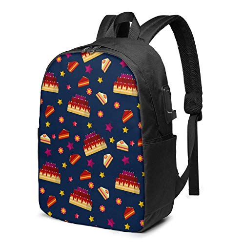 XCNGG Colorful Chocolate Birthday Cake Stars Travel Laptop Backpack College School Bag Casual Daypack with USB Charging Port
