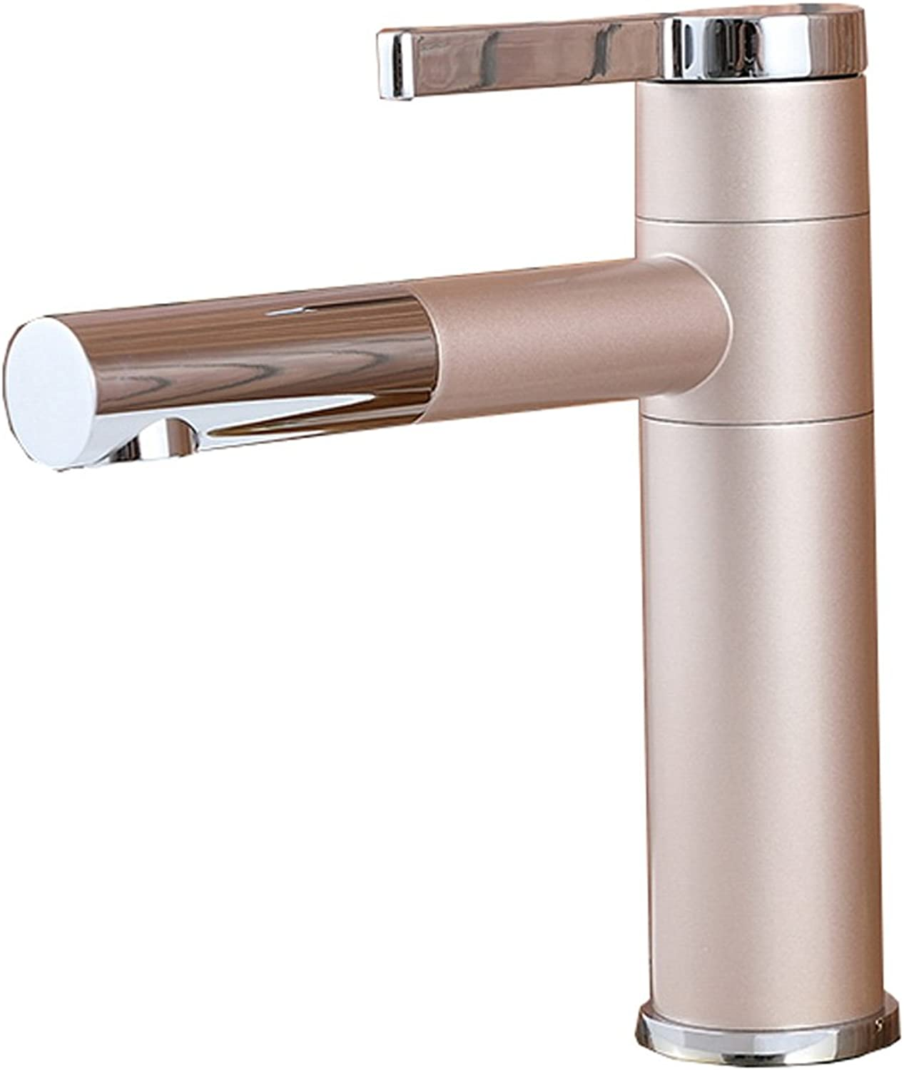 Bidet Taps pink gold Paint Faucet Single Hole Copper Hot And Cold Personality redatable Bathroom Wash Basin Mixing Valve Aperture 32MM To 45MM Can Be Installed