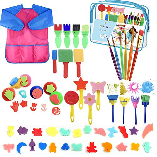 YZNlife 52 pcs Sponge Paint Brushes Kits Painting Brushes Tool Kit for Kids Early DIY Learning Include Foam Brushes,Pattern Brushes Set,Waterproof Apron, etc