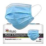 mituso Mund- und Nasenmaske, 50er Pack, Einweg Maske, 3-lagig Gummizug