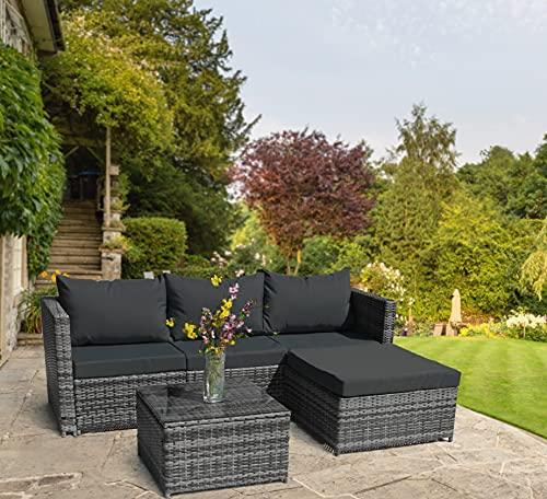 Rattan Garden Corner Sofa with Coffee Table Patio Furniture Set - 3 to 4 Seater (Dark Grey Mixed with Dark Grey Cushions)