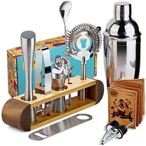 Cocktail-Shaker Barkeeper-Set mit Ständer, 11-teiliges Bar-Werkzeug-Set Cocktail-Set Perfektes Barkeeper-Set für zu Hause und Martini-Shaker-Set für das Mixen von Getränken - Walnuss