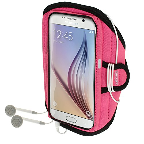 iGadgitz U3575 Agua Resistente Brazalete Armband Deportivo Compatible con Samsung Galaxy S6 SM-G920 Correr Gimnasio Funda Carcasa - Rosa