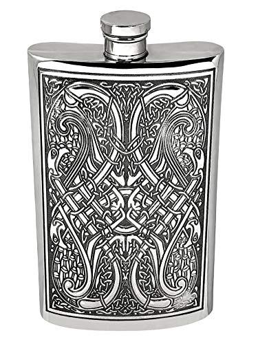 English Pewter Company 8 Unzen keltischer Design-Zinn-Flachmann [CEL153]
