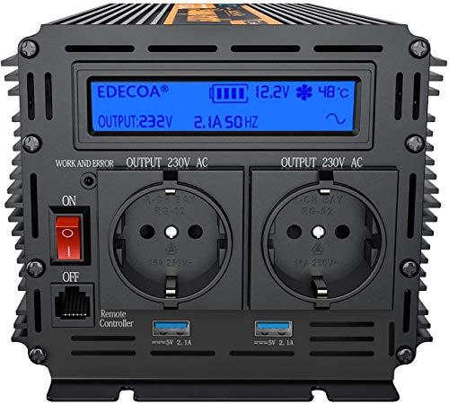 EDECOA inversor 12v 220v Onda Pura 1500w Transformador de Corriente Onda Pura con Mando a...
