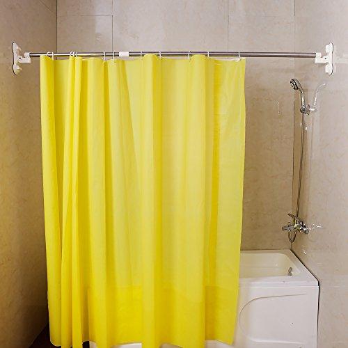 BAOYOUNI Duschvorhangstange Erweiterbar Duschvorhang Schiene Pole Bad Saugnapf Vorhangstange Kleidung Roben Handtücher Bar Kleiderbügel Organizer 130-218cm, Elfenbein
