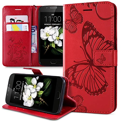 Kompatibel mit Schutzhülle Moto G5 Hülle,Prägung 3D Schmetterling Relief Lanyard Muster PU Lederhülle Flip Hülle Cover Ständer Bookstyle Wallet Tasche Hülle Schutzhülle Handyhülle,Rot