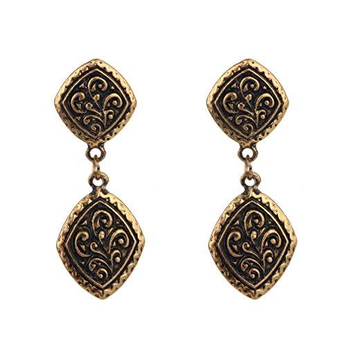 YAZILIND Vintage tibetano aleaci¨®n plata bronce shinny grabado cuelga aretes mujeres ni?as regalo (oro)