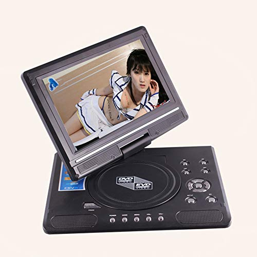 DBPOWER 9.5'' Tragbarer DVD-Player mit Wiederaufladbarer Batterie, Schwenkbaren Bildschirm, Unterstützt SD-Karte und USB, mit Spiele-Joystick, Auto-Ladegerät-Schwarz