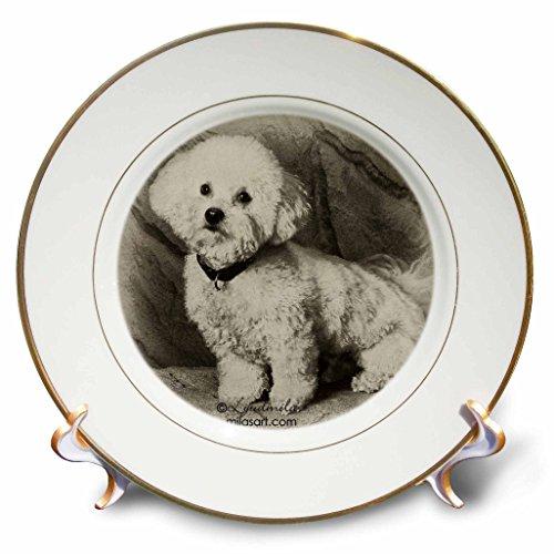 3dRose Milas Art Dogs - Bichon Frise - Placas (cp_4625), 8 inch Porcelain Plate, 1
