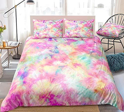 ZMK-720 Bedding Bed Sheets Bedding Set Colorful Duvet Cover Set Tie Dyed Bed Linen Pink Girl Home Textiles Tie Dye Bedclothes Pastel (Color : Pastel, Size : AU King)