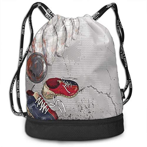 shenguang Kordelzug Rucksäcke Taschen, Bowling Schuhe Pins und Ball im künstlerischen Grunge Style Print, verstellbar