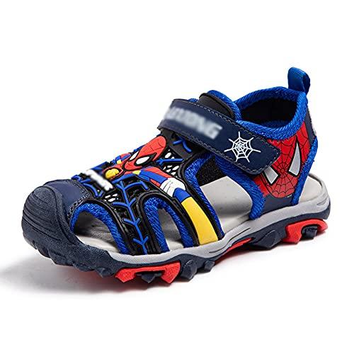 Hflyy Sandalias Niños Spiderman Zapatos Playa Niños Sandalias Caminar Niños De Suela Suave Zapatillas Antideslizantes con Solapa Zapato De Agua Liviano Flops Duraderos,Blue-28/Inner Length 17.3cm