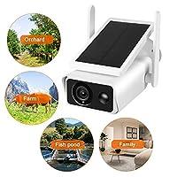 ソーラーカメラ、1080P HD WiFiカメラソーラーパネル屋外防水PIRインターホンセキュリティCCTV