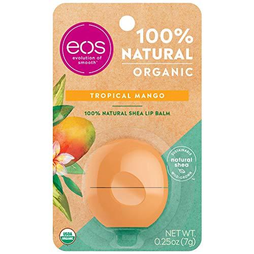 eos USDA Organic Balm to Moisturize Dry Lips, 100% Natural and Gluten Free, Long Lasting Hydration, Tropical Mango, 0.25 Oz