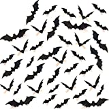 Minleer Halloween 3D Battes (Paquet de 120), Décorations d'Halloween, Fournitures de fête Halloween Décorations Scary Bats 3D Stickers muraux (Taille Assortie) (Noir)