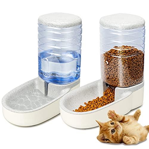 KORIEMFA, distributore automatico di cibo per animali domestici, distributore di acqua per animali domestici, mangiatoia, fontana per cuccioli, ciotola da 3,8 l (grigio bianco)