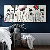 Long Banner Nordic Poster Zebra Fruit Wall Art Canvas Painting Wall Art Print For Bedroom Large Size Home Decor Wall Picture 20x60 CM (sans cadre)