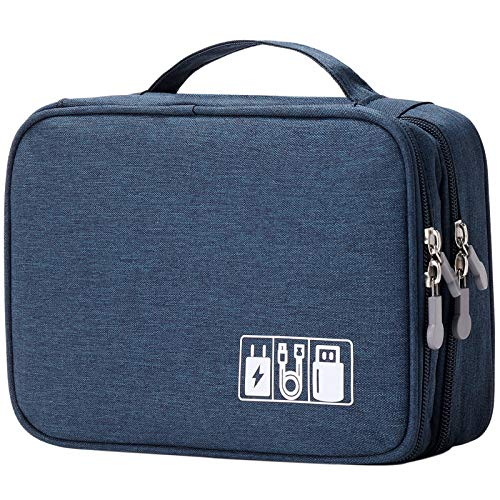 Travel Cable Organizer Bag, Electronic Accessories Case Portable Double Layer Cable Storage Bag for Cord,Phone,Charger, Flash Drive, Phone, SD Card,Personal Items - (Dark Blue)