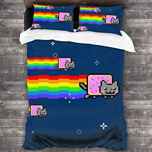 Glenn Isidore N-y-an Cat R-ainbow Zipper Closure Printed Bed Sheet Set - 3 Piece Microfiber Bedsheet Set, Soft Comfy Bedding Sets (1 Quilt Set, 2 Pillow Shams)