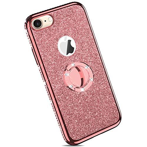 Ysimee kompatibel mit iPhone 7 /iPhone 8 Hülle, Bling Schutzhülle Glänzend Weiche TPU Silikon HandyHülle Bumper Case mit Ring 360 Grad Ständer, Diamant Glitzer Case, Rose Gold