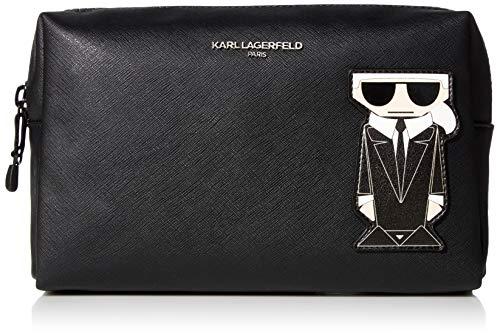 Karl Lagerfeld Paris Damen Amour Cosmetic Bag Kosmetik-Necessaire, schwarz/Silber, Einheitsgröße