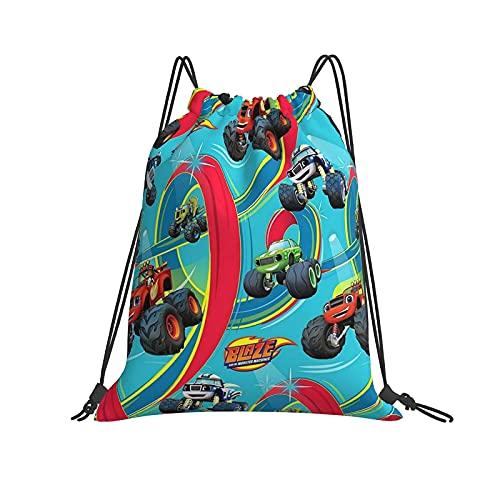 FLYBAI-CASE Blaze and The Monster Machines - Mochila unisex con cordón, bolsa de la compra, bolsa de deporte, bolsa de poliéster, ligera, maquillaje, bolsillos para hombres, mujeres, adolescentes
