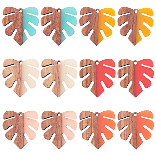 SUNNYCLUE 1 Box 12Pcs Wood Resin Pendant Earring Making Kit Leaf Shape Charms for Dangle Earring Jewellery Making Supplies Craft Accessories