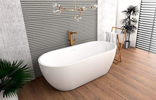 ECOLAM exklusive freistehende Badewanne Standbadewanne moderne Wanne freistehend Elena-1 170x77 cm + Ablaufgarnitur Click Clack Design Acryl glamour weiß (ohne Bambus Ablage)