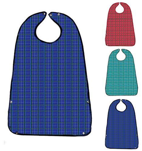 Adult Bibs for Eating (3 Pack)- Washable Reusable Waterproof Clothing Protector with Crumb Catcher-Bibs for Seniors for Eating at Mealtime 30'L x 19.5' Men(New Upgrade)