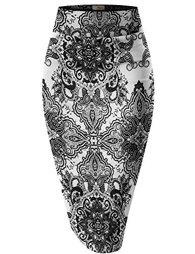 Hybrid & Company Womens Pencil Skirt for Office Wear KSK43584 RMX1864 Black/Whit L