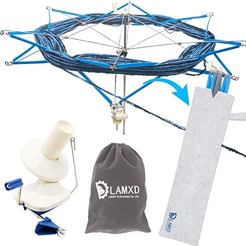 Lamxd Großer Jumbo-Metall-Garn/Wolle/Schnur/Faserkugelwickler, handbetrieben, mit Fadenschneider, Schere Small
