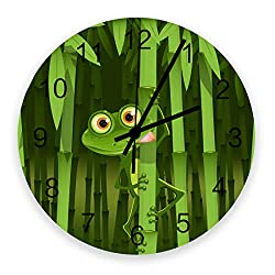Prime Leader Wall Clock Non-Ticking 12 Inch Round Wooden Clock Green Frog Bamboo Camouflage Silent Battery Operated Clock Decorative Living Room Hanging Clocks