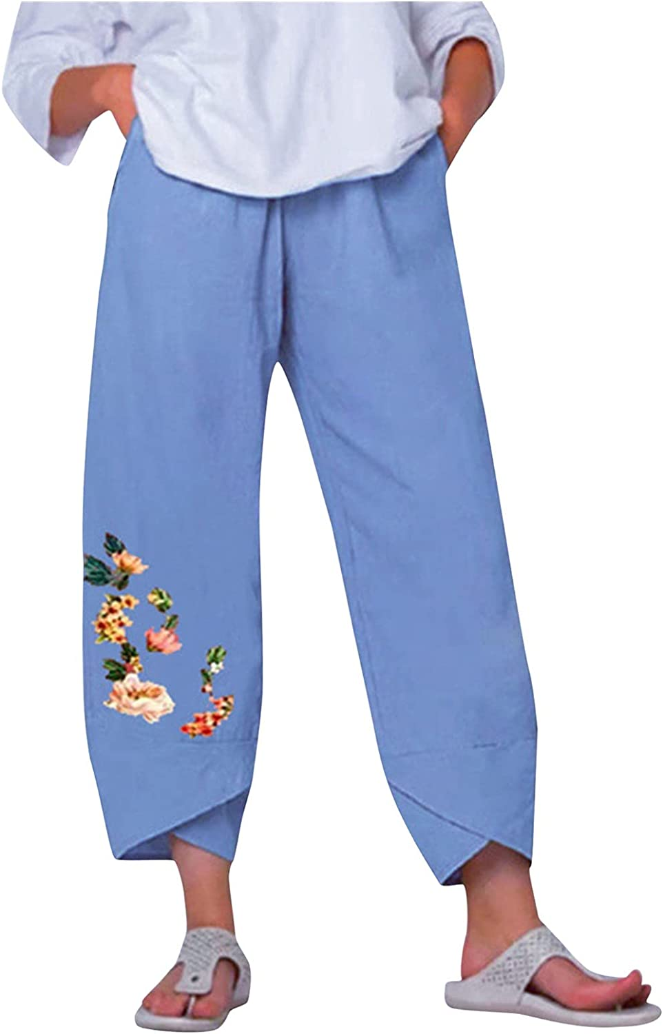 Womens Baggy Casual Brand new Trousers Cotton Loose Harlan Linen Baltimore Mall Cro Pants