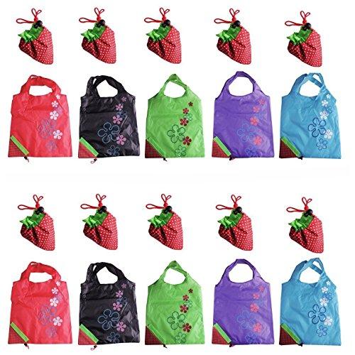 Lifecart - 5 buste ecologiche per la spesa, pieghevoli e riutilizzabili, motivo fragola, colori assortiti