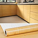 VEELIKE 15.7''x118'' Tan Wood Grain Contact Paper Wood Wall Paper Yellow Waterproof Removable Wallpaper Peel and Stick Wood Texture Wall Covering Self Adhesive Vinyl Film for Countertop Cabinet Locker