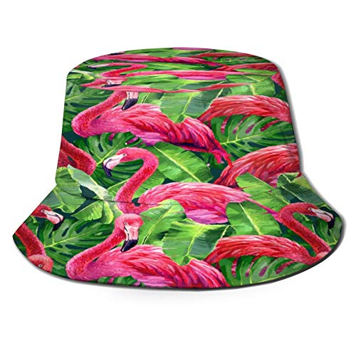 Flamingo In The Leaves Fisherman Hat 3d Printed Reversible Boonie Hat Durable Flap Sun Cap Lightweight Portable Bucket Hat Eye Protect Travel Hat For Sports Golf Gardening Boating Beach
