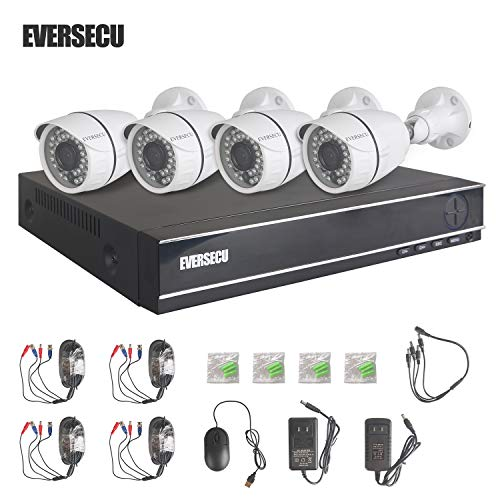 Eversecu 4 Channel Security Camera System 1080N DVR and (4) 1.0MP 720P Weatherproof Cameras Support Night Vison Weatherproof, Motion Alert, Smartphone, PC Easy Remote Access (NO HDD Included)